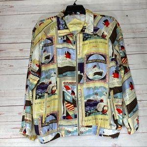 Vintage East West Silk Cruise Theme Bomber Jacket